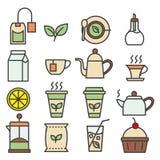 Colección linear coloreada de los iconos del té Iconos planos del té fijados stock de ilustración