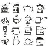 Colección linear de los iconos del café blanco y negro Iconos planos del café fijados ilustración del vector