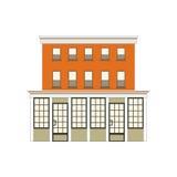 Colección linear detallada hermosa del paisaje urbano con las casas urbanas Calle de la pequeña ciudad con las fachadas del edifi Fotografía de archivo libre de regalías