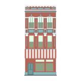 Colección linear detallada hermosa del paisaje urbano con las casas urbanas Calle de la pequeña ciudad con las fachadas del edifi Foto de archivo