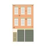 Colección linear detallada hermosa del paisaje urbano con las casas urbanas Calle de la pequeña ciudad con las fachadas del edifi Fotos de archivo libres de regalías