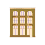 Colección linear detallada hermosa del paisaje urbano con las casas urbanas Calle de la pequeña ciudad con las fachadas del edifi Imagen de archivo libre de regalías