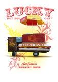 Colección Lucky Dog Hot Dog Cart de la cultura de New Orleans ilustración del vector