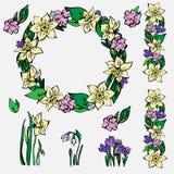 Colección a mano de la primavera de ejemplos florales del vector ilustración del vector