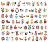 Colección mega de animales domésticos de la historieta Imagen de archivo libre de regalías