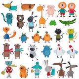 Colección mega de animales domésticos de la historieta Fotografía de archivo libre de regalías