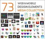 Colección mega de elementos móviles del diseño del web Foto de archivo