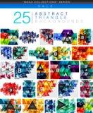 Colección mega de 24 fondos polivinílicos bajos del extracto del triángulo Fotografía de archivo libre de regalías
