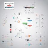 Colección mega de objetos de Infographics de la cronología stock de ilustración