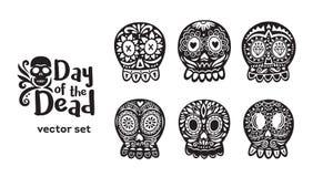 Colección mexicana del cráneo del azúcar en colores blancos y negros libre illustration