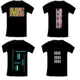 Colección negra de la camiseta con el ejemplo abstracto en blanco Fotos de archivo