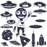 Colección negra de la nave espacial ilustración del vector