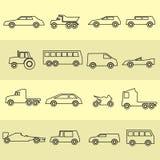 Colección negra de los iconos del esquema de los coches simples Foto de archivo libre de regalías