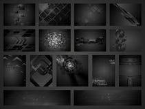 Colección negra geométrica de los fondos de la tecnología Imagen de archivo libre de regalías