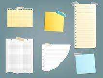 Colección notas de papel de los ejemplos del vector de diversas Imagen de archivo libre de regalías