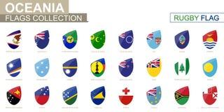 Colección Oceanian de las banderas de países Sistema de la bandera del rugbi stock de ilustración