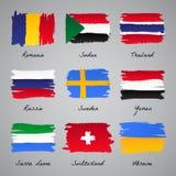Colección pintada a mano de la bandera de la nación ilustración del vector