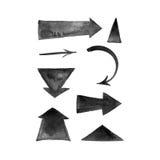 Colección pintada a mano negra de las flechas del movimiento del cepillo Imagenes de archivo