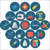Colección plana de los iconos de artículos de costura Imagen de archivo libre de regalías