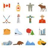 Colección plana de los iconos de los símbolos nacionales de Canadá stock de ilustración