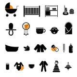 Colección plana de los iconos del bebé Imagenes de archivo