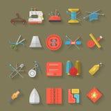 Colección plana de los iconos del diseño de artículos de costura Fotografía de archivo