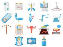Colección plana de los iconos del diseño de ginecología Imágenes de archivo libres de regalías