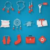 Colección plana de los iconos para los artículos hechos a mano Fotografía de archivo libre de regalías