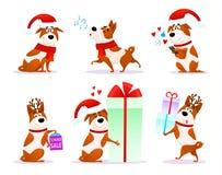 Colección plana del emoji del perrito de Navidad Fotos de archivo