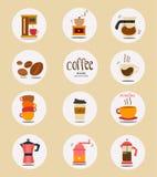 Colección plana del icono de la materia del café del vector stock de ilustración