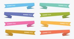 Colección plana del sistema del estilo de la papiroflexia de la bandera con el diverso color - vector stock de ilustración