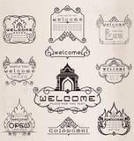 Colección plana del vector de los iconos del arte tailandés Imágenes de archivo libres de regalías