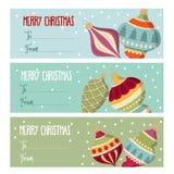 Colección plana linda de las etiquetas de la Navidad del diseño con el bal de la Navidad stock de ilustración