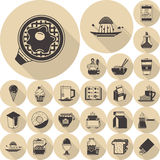 Colección plana marrón de los iconos de la comida Imagenes de archivo