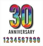 Colección poligonal colorida del aniversario de los números Imagenes de archivo