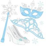 Colección real de los accesorios de la reina de la nieve del vestido-para arriba Imagen de archivo libre de regalías