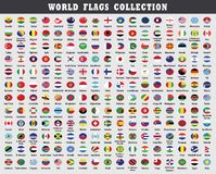 Colección redondeada de las banderas del mundo stock de ilustración
