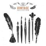 Colección retra de la tinta del cepillo de la pluma de la semilla del vintage vieja Imágenes de archivo libres de regalías