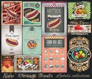 Colección retra de las etiquetas de las comidas del vintage Pequeños carteles stock de ilustración