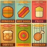 Colección retra de los carteles de los alimentos de preparación rápida Fotografía de archivo