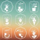 Colección retra del ornamento del vintage para el helado y los refrescos