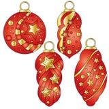 Colección roja de la chuchería con las estrellas de oro brillantes Imagenes de archivo