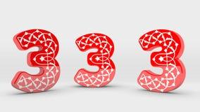 colección roja del número de la decoración 3d - 3 Fotografía de archivo libre de regalías