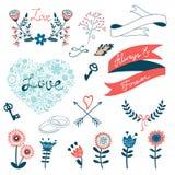 Colección romántica con las flores, guirnaldas y Imágenes de archivo libres de regalías