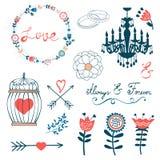 Colección romántica con las flores, guirnaldas y Fotografía de archivo libre de regalías