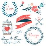 Colección romántica con las flores, guirnaldas y Imagen de archivo libre de regalías