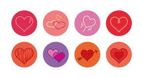 Colección romántica de los corazones Imagenes de archivo