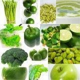 Colección sana verde del collage de la comida Fotos de archivo libres de regalías