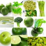 Colección sana verde del collage de la comida Imagenes de archivo