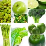 Colección sana verde del collage de la comida Imagen de archivo